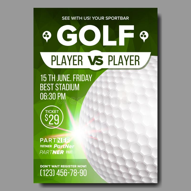 Golf Poster Vector. Sport Event Announcement. Banner Advertising. Professional League. Vertical Sport Invitation. Golf Poster Vector. Banner Advertising. Sport royalty free illustration