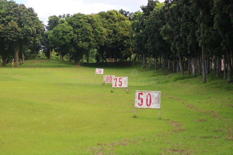 Golf Practice Range in Haciendas de Naga, Philippines. Golf Practice Range in Haciendas de Naga showing multiple numbers, in Naga City Camarines Sur, Philippines royalty free stock image