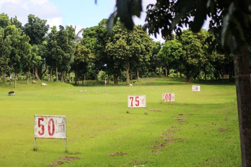 Golf Practice Range in Naga City Camarines Sur, Philippines. Golf Practice Range in Haciendas de Naga showing multiple numbers in Naga City Camarines Sur royalty free stock photos