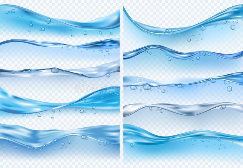 Golf realistische plonsen Vloeibare waterspiegel met bellen en van de plonsenoceaan of overzeese vectorachtergronden vector illustratie