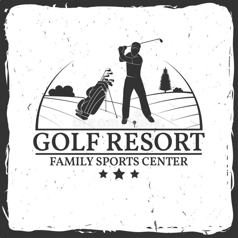 Golf resort concept. Golf resort concept with golfer silhouette. Vector golfing club retro badge. Concept for shirt, print, seal or stamp. Typography design royalty free illustration