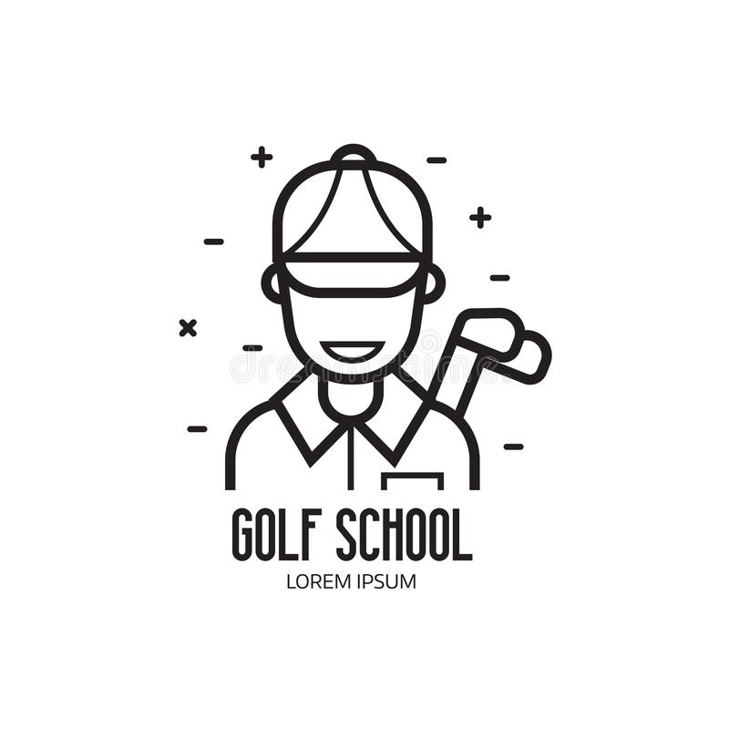 Golf School or Club Logotype. Golf school and club logotype with golfer man. Golfing league emblem in line art style. Driving range sign with abstract golf royalty free illustration