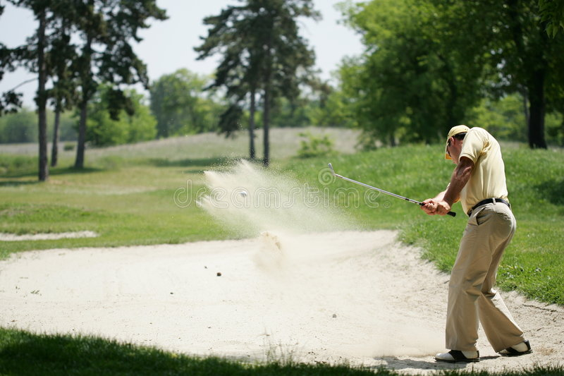 Golf Send Technic. A golf sand shot royalty free stock image