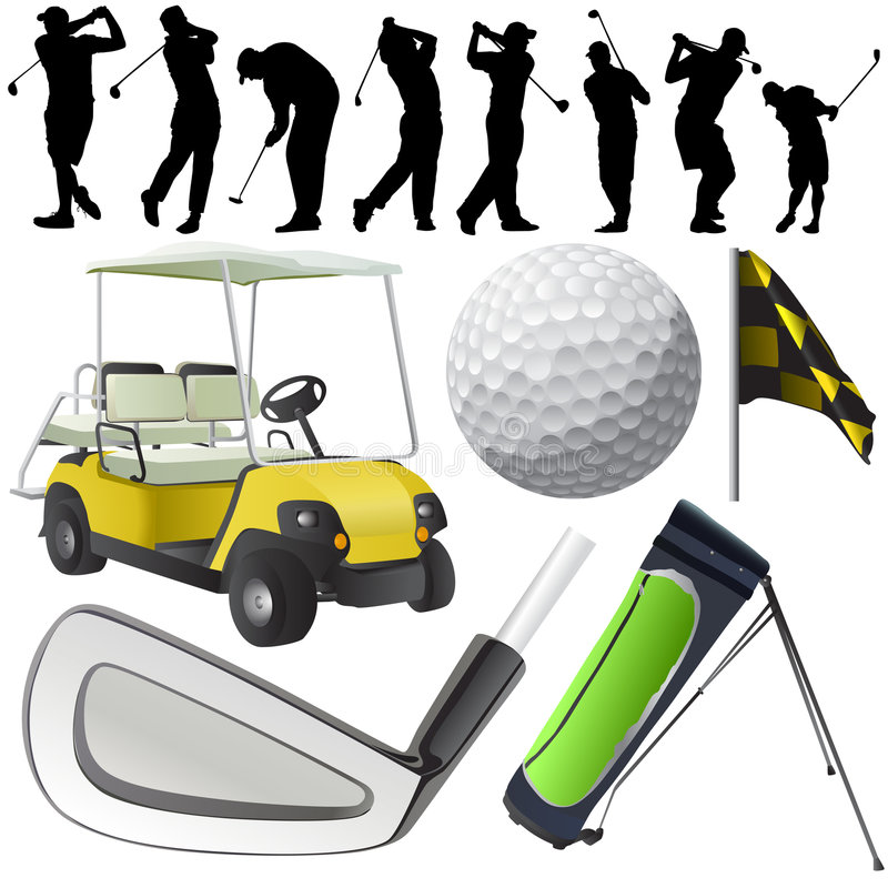 Golf set. Set of golf objects and players vector