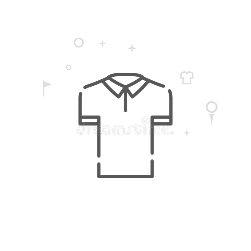 Golf Shirt Vector Line Icon, Symbol, Pictogram, Sign. Light Abstract Geometric Background. Editable Stroke vector illustration