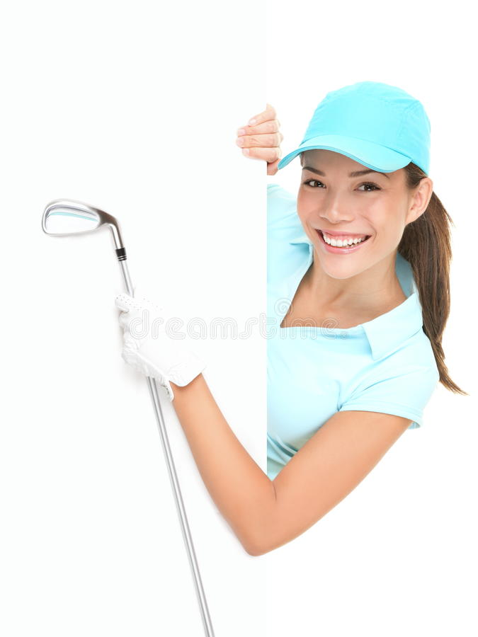 Download Golf Sign - Woman Showing Paper Billboard Stock Image - Image: 20058935