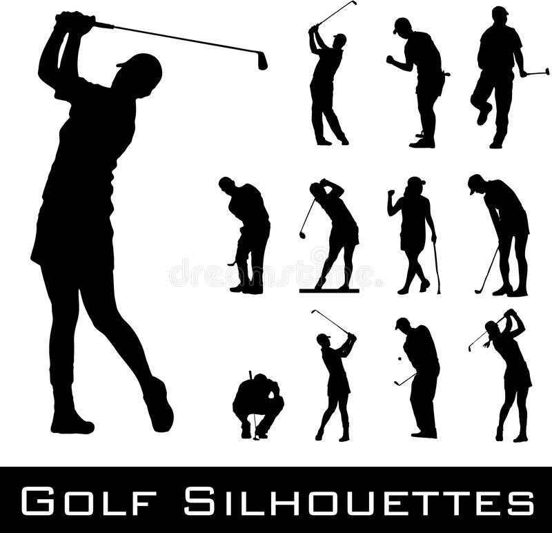 Golf spielende Schattenbilder lizenzfreie abbildung