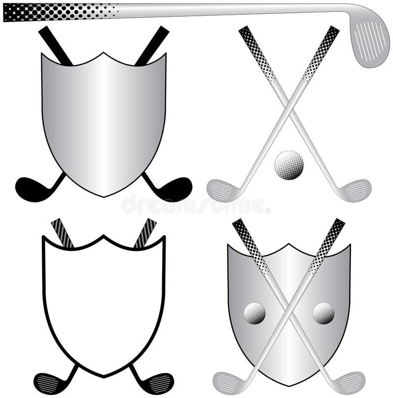Golf spielende Zeichen stock abbildung