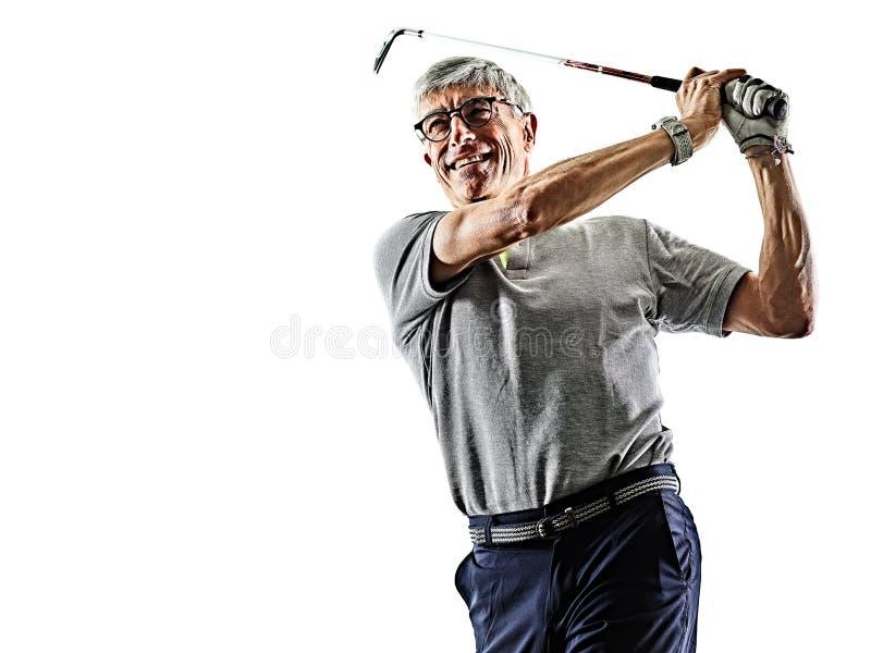 Golf spielender lokalisierter weißer Hintergrund des Schattens des Golfspielers des älteren Mannes Schattenbild stockfotografie