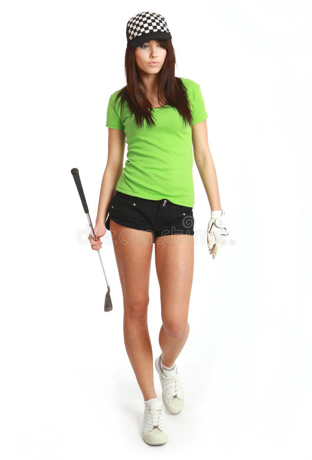 Golf-Spieler-Frau. stockfoto
