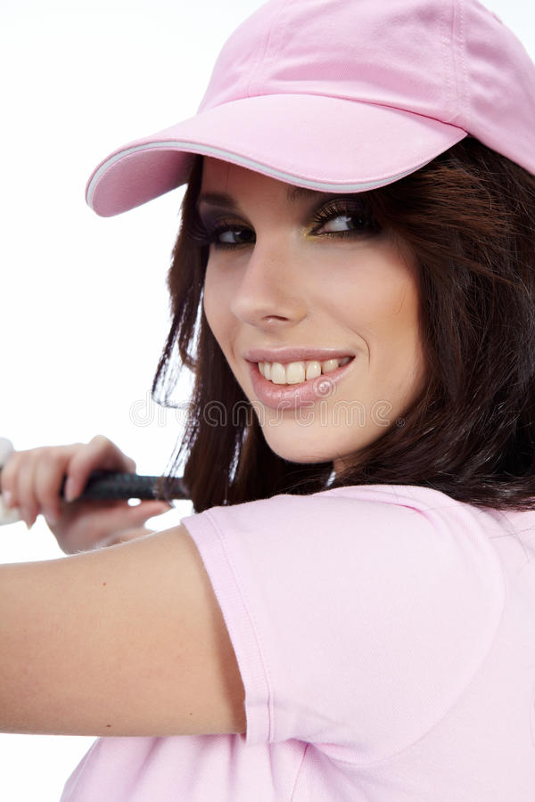 Golf-Spieler-Frau. stockfotos