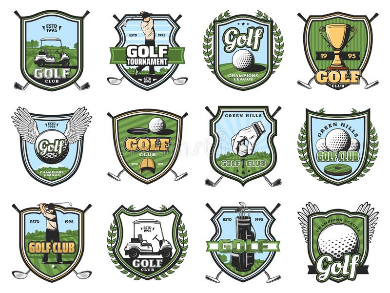 Golf sport balls, clubs and golfers, trophy, tee. Golf sport club shield badges of vector golfer players on course with balls, clubs and tee, winner trophy cups royalty free illustration