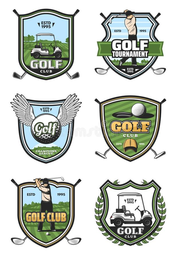 Golf tournament, sport club heraldry vector icons. Golf sport club heraldic icons. Golfer player on green field, ball with wings and hole, cart with sportive vector illustration
