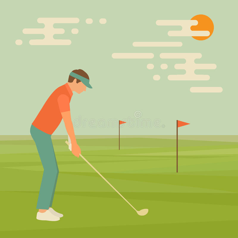 Golf sport club. Vector golfer man, course illustration vector illustration