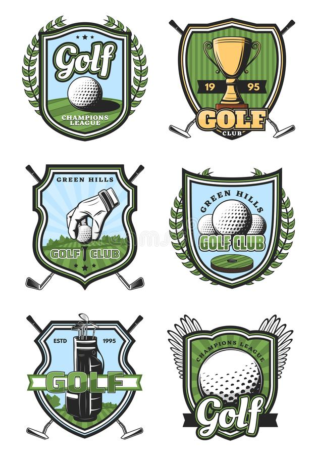 Golf sport heraldic vector icons. Golf sport heraldic icons and symbols with crossed sticks and ball, gold trophy cup and white glove. Royal game and sport items stock illustration