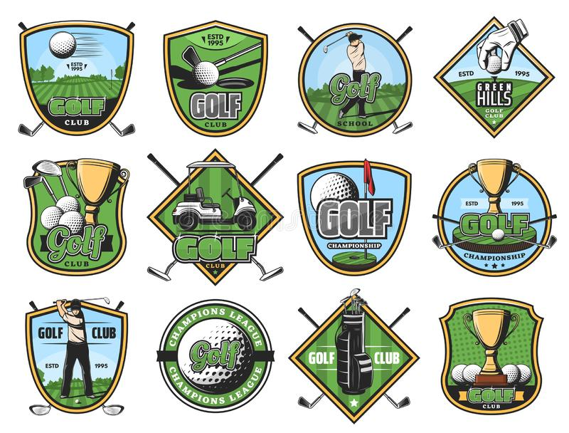 Golf sport icons, golfer and sporting items. Golfing club sport icons, golf game, golfer, sporting items. Sticks and ball, gold trophy and hole, cart and play royalty free illustration