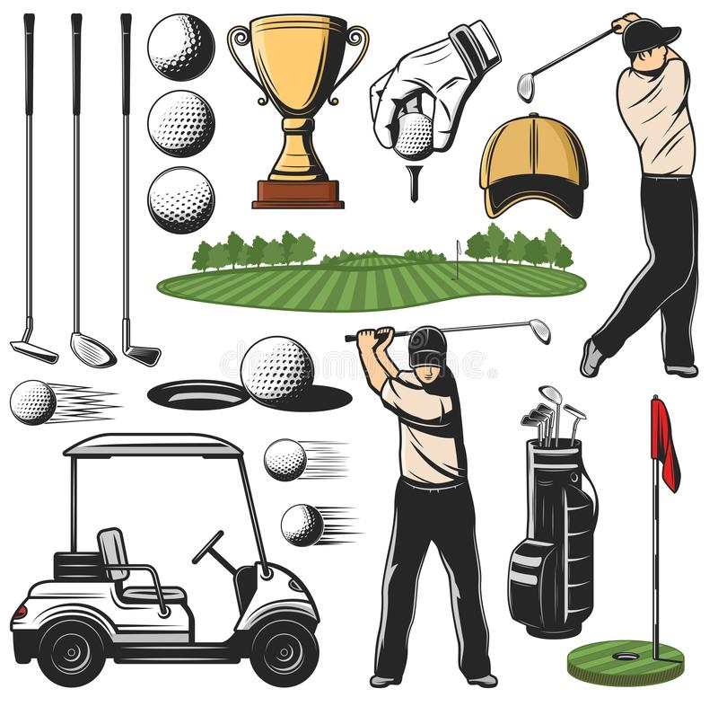 Golf sport items icons and player with play course. Items for golf sport icons and player with stick, play course and cart. Ball and putter, wedge and iron, wood vector illustration