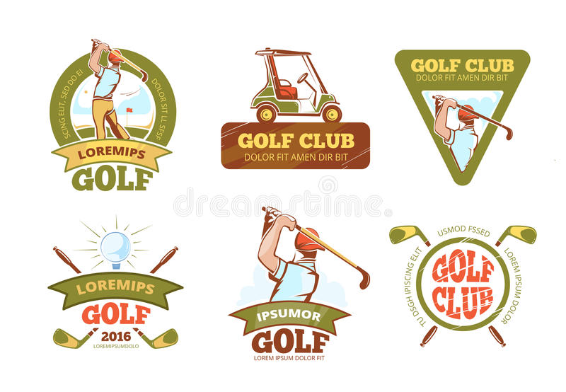 Golf sports club, tournament vector color labels royalty free illustration