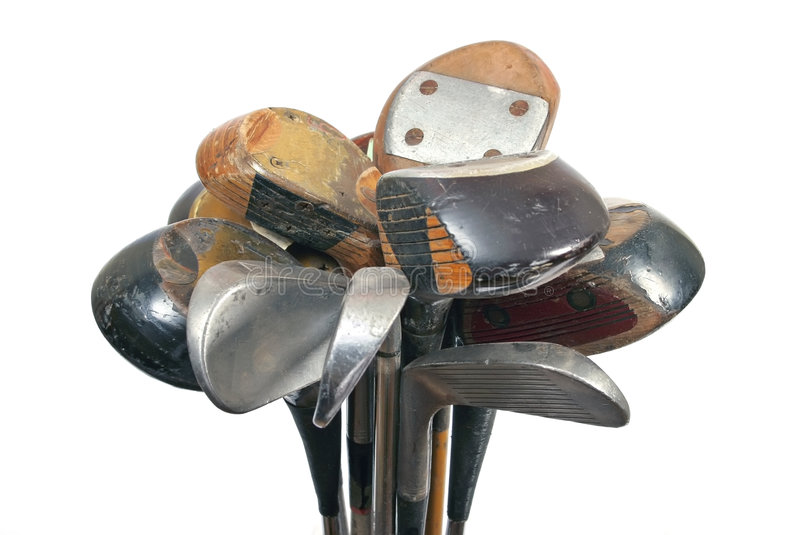 Golf stick. Old golf club wooden and metal stock photos