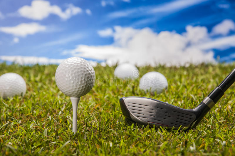 Golf stuff on green grass royalty free stock photography