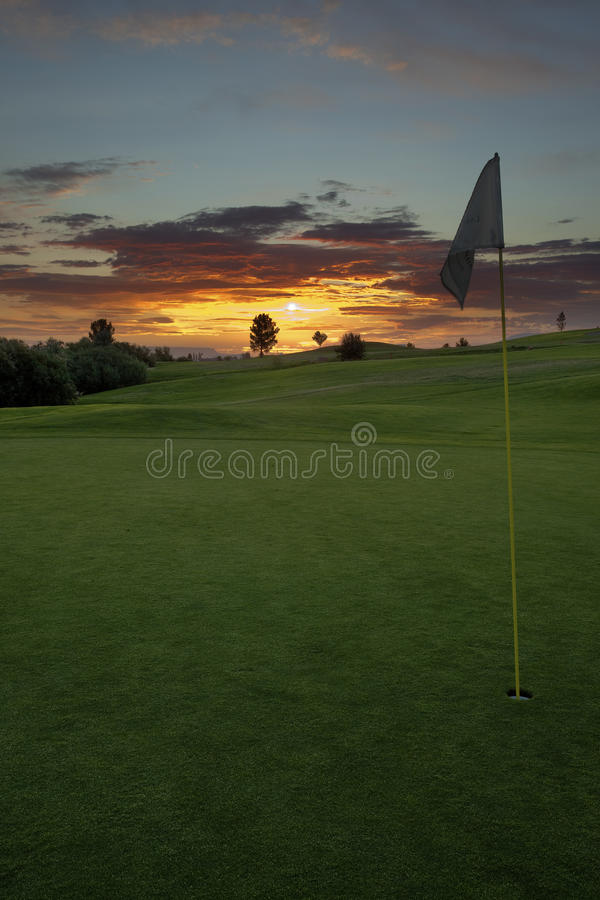 Golf sunrise stock photography