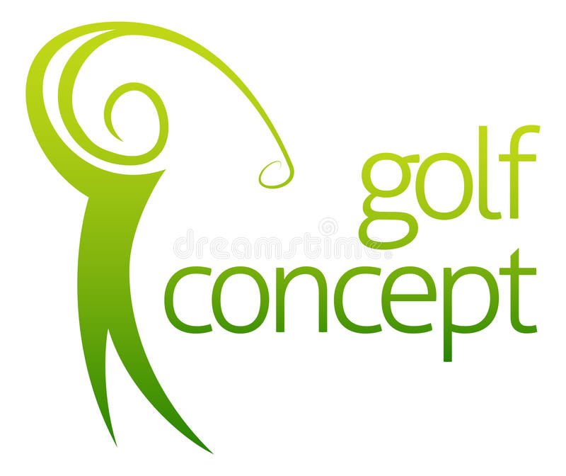 Golf swing abstract. Concept of a golfer figure playing golf stock illustration