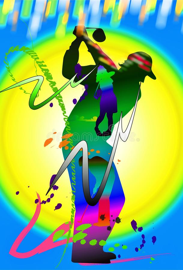 Golf swing action art brush stroke vector illustration