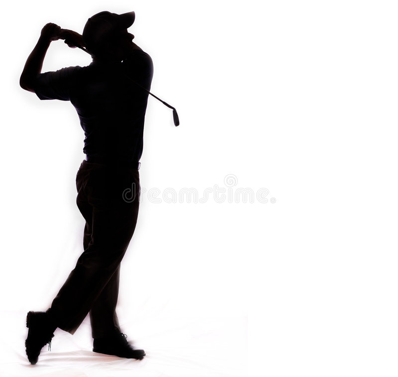 Golf swing isolated on white stock photos
