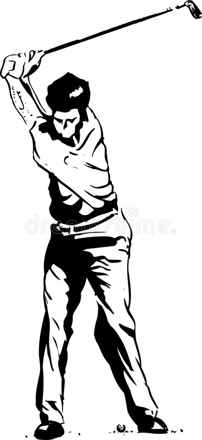 The Golf Swing Pose. One of a series of instructional illustrations Pen and Ink Version royalty free illustration
