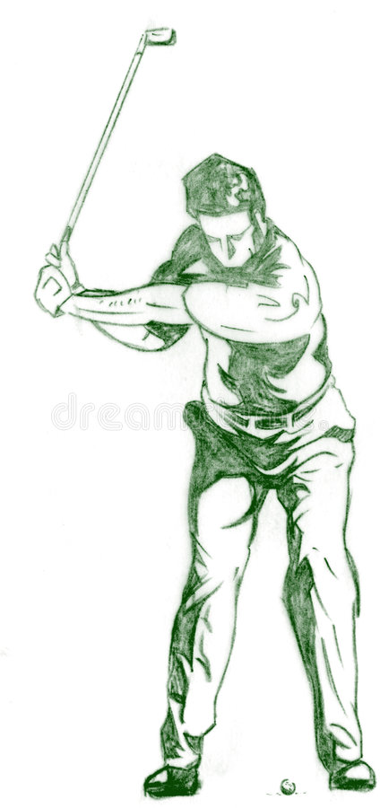 The Golf Swing Pose. One of a series of instructional illustrations Pencil Version stock illustration