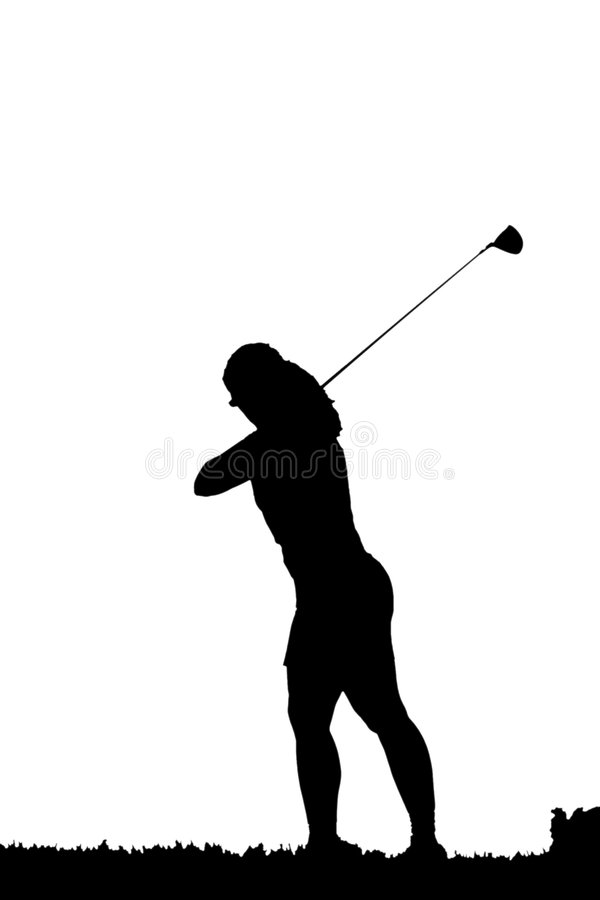Golf swing silhouette. Silhouette of a female golfer swinigng her clubs stock illustration