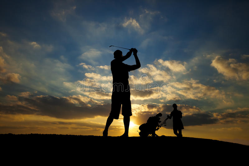 Golf Swing Silhouette royalty free stock photos
