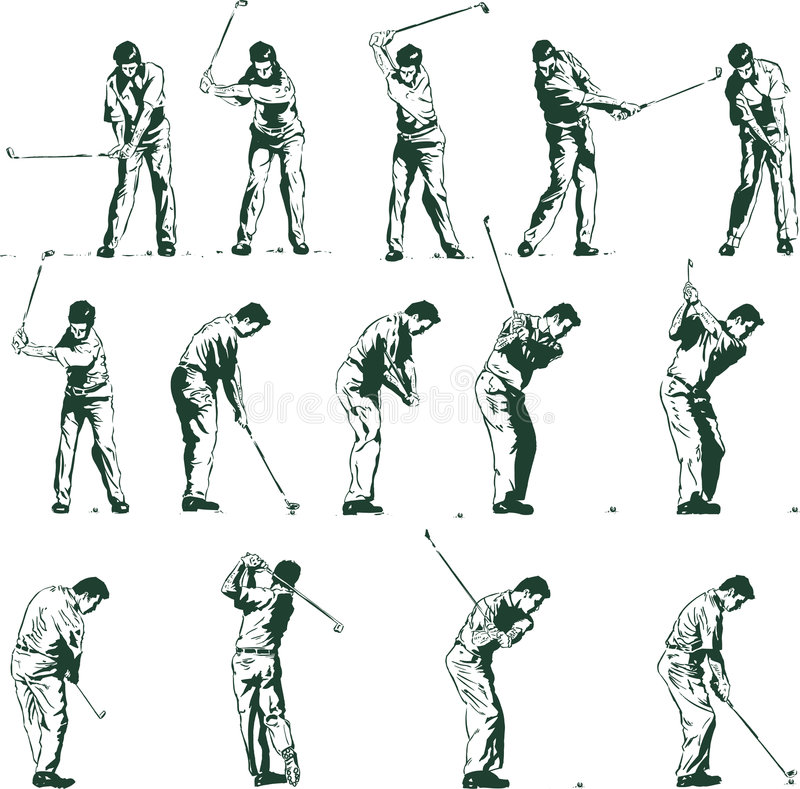 Golf swing stages vector illustration stock illustration