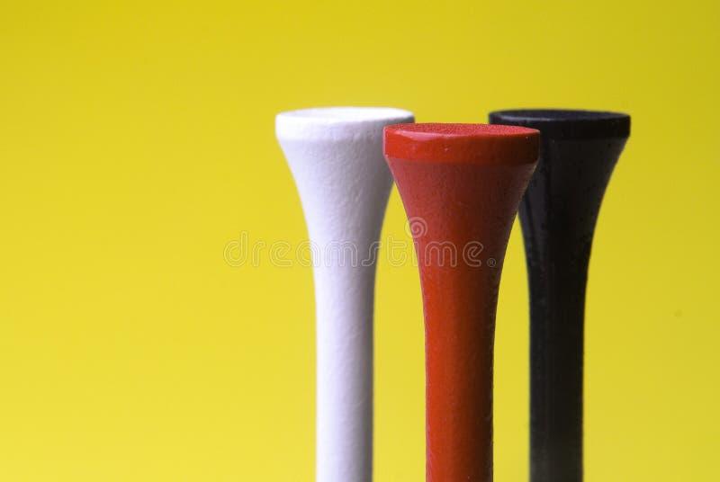 Golf-T-Stücke drei lizenzfreies stockfoto