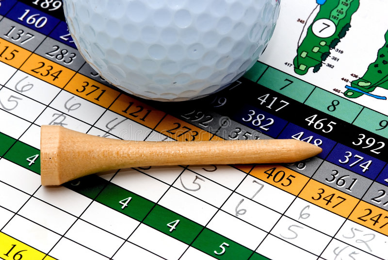Download Golf Tee, Ball And Scorecard Stock Image - Image: 1630809