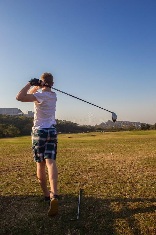 Golf Teenager Driver Practice Range Stock Photography