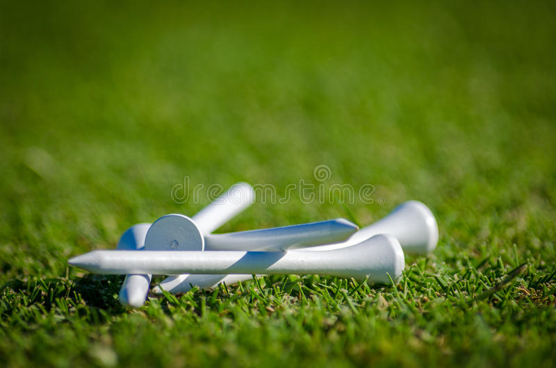 Golf Tees. White golf tees on the grass royalty free stock photography
