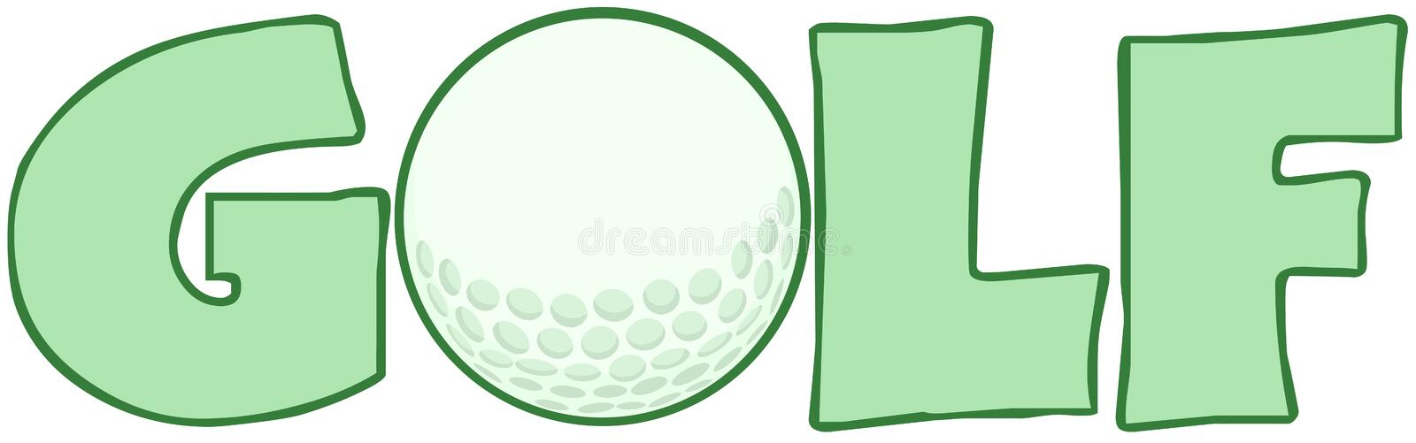 Golf Text With Golf Ball royalty free illustration