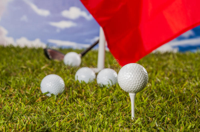 Download Golf Theme On Green Grass And Sky Background Stock Photo - Image of equipment, sports: 34900536