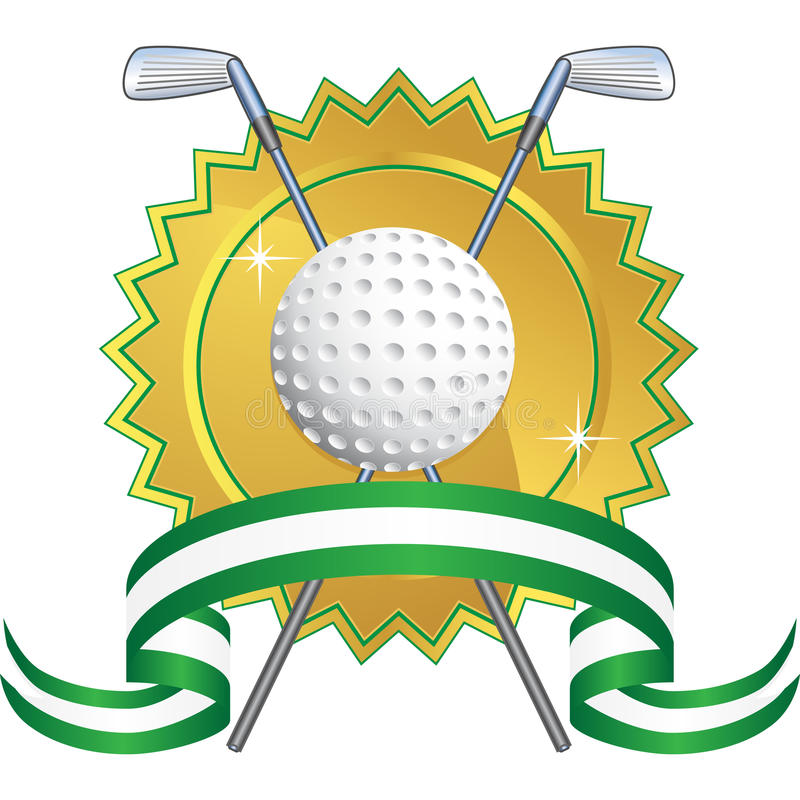 Golf Themed Background - seal. Golf themed background with gold seal and ribbon stock illustration