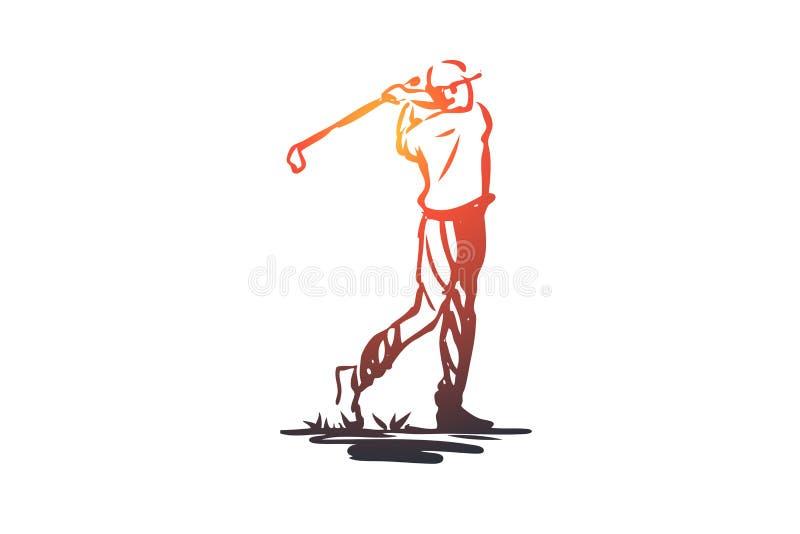 Golf, toernooien, spel, sport, golfspelerconcept Hand getrokken geïsoleerde vector vector illustratie