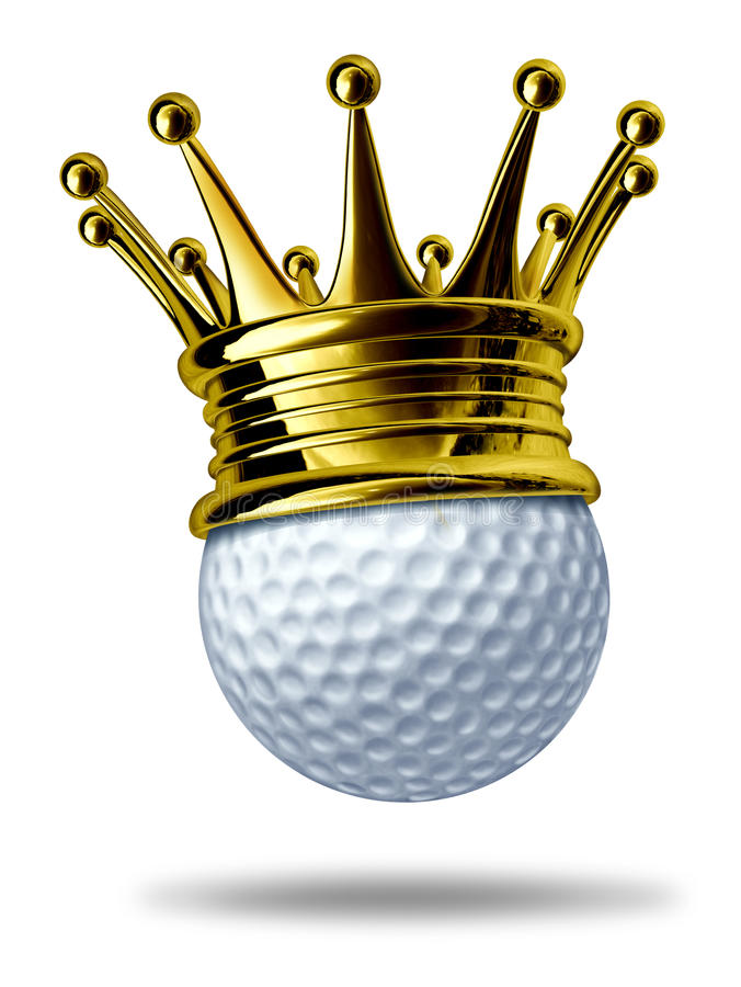 Golf tournament champion. Symbol represented by a white golf ball wearing a gold crown showing the concept of golfing sports competion winning and golf course stock illustration