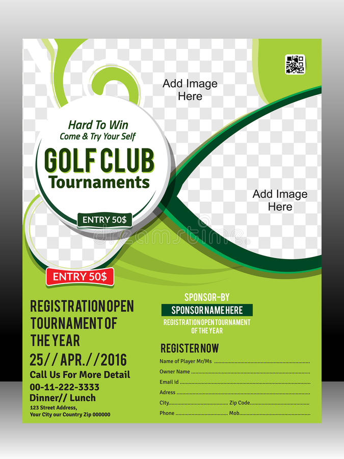 Golf Tournament Flyer Template Design Illustration Stock Vector