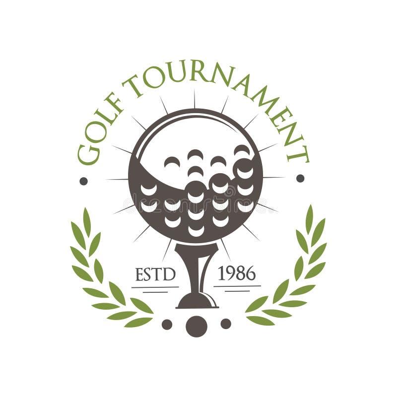Golf tournament logo est 1986, retro sport label for golf championship, club, business card vector Illustration on a stock illustration