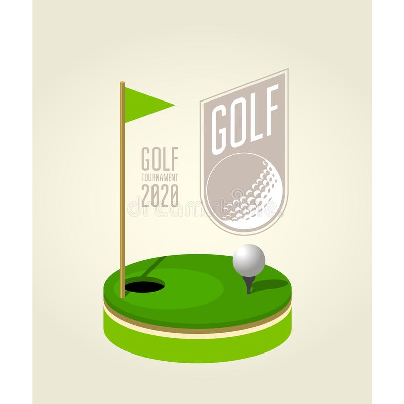 Golf tournament poster design template - golf club flyer stock illustration