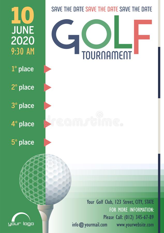 Golf Tournament poster template. Save the Date. Place for your text message. stock illustration