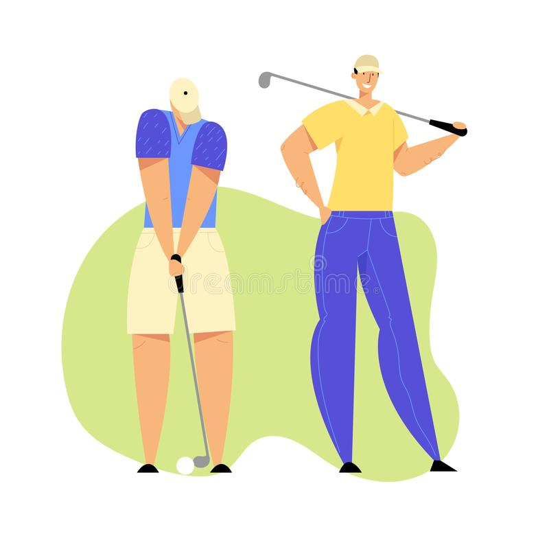 Golf Tournament, Young People Playing Sport Game on Course with Green Grass Using Professional Equipment stock illustration