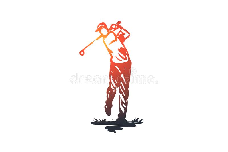 Golf, training, relax, hobby, sport concept. Hand drawn isolated vector. vector illustration