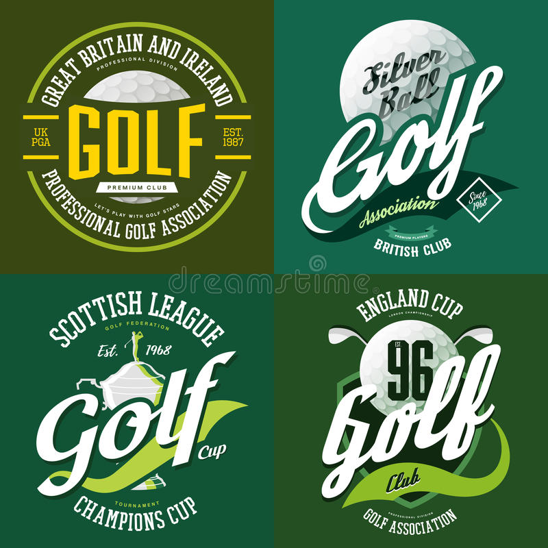 Golf trophy cup or bowl, ball for t-shirt print royalty free illustration