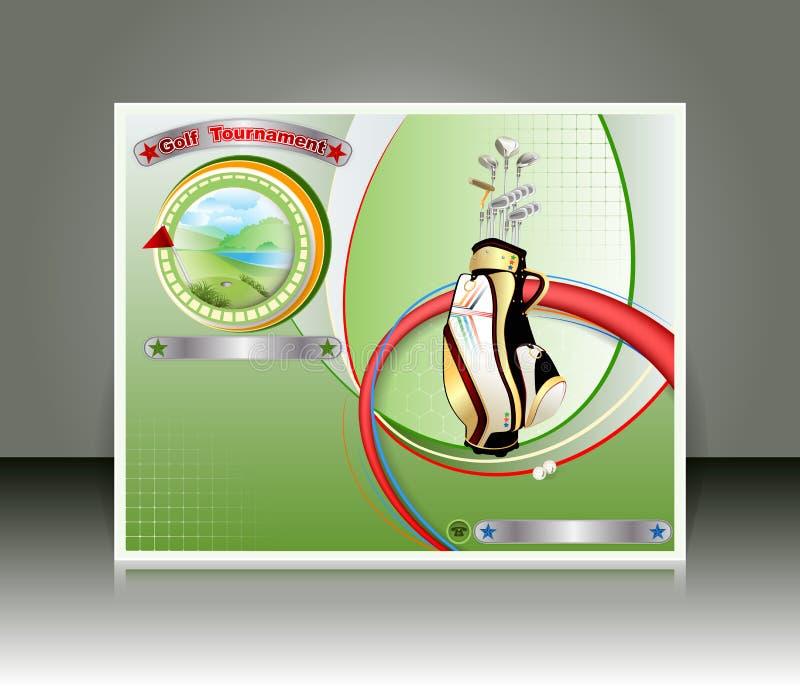 Golf-Turnierdesignschablone mit Golfclubtasche und ein Medaillon mit nettem Golfplatz stock abbildung